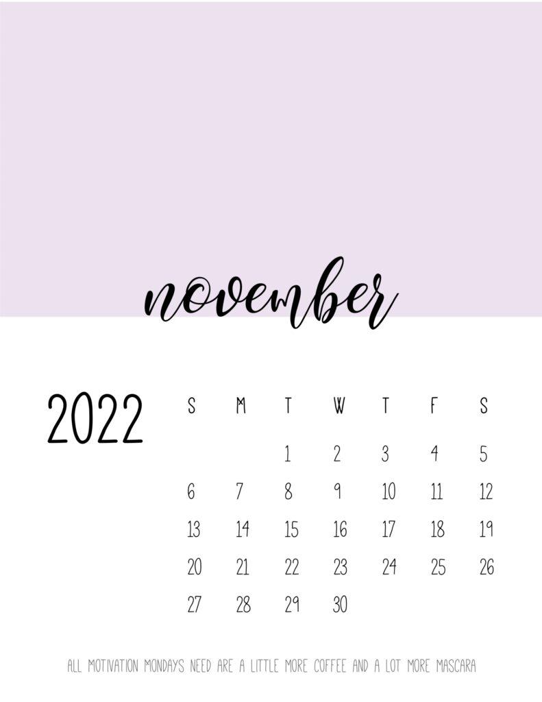 monthly calendar 2022 printable - november