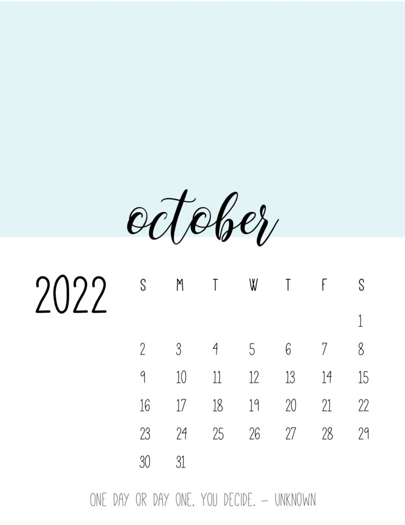 monthly calendar 2022 printable - october