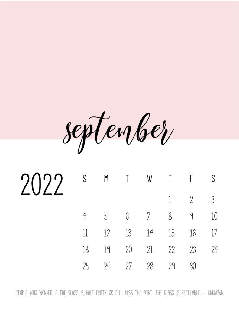 monthly calendar 2022 printable - september