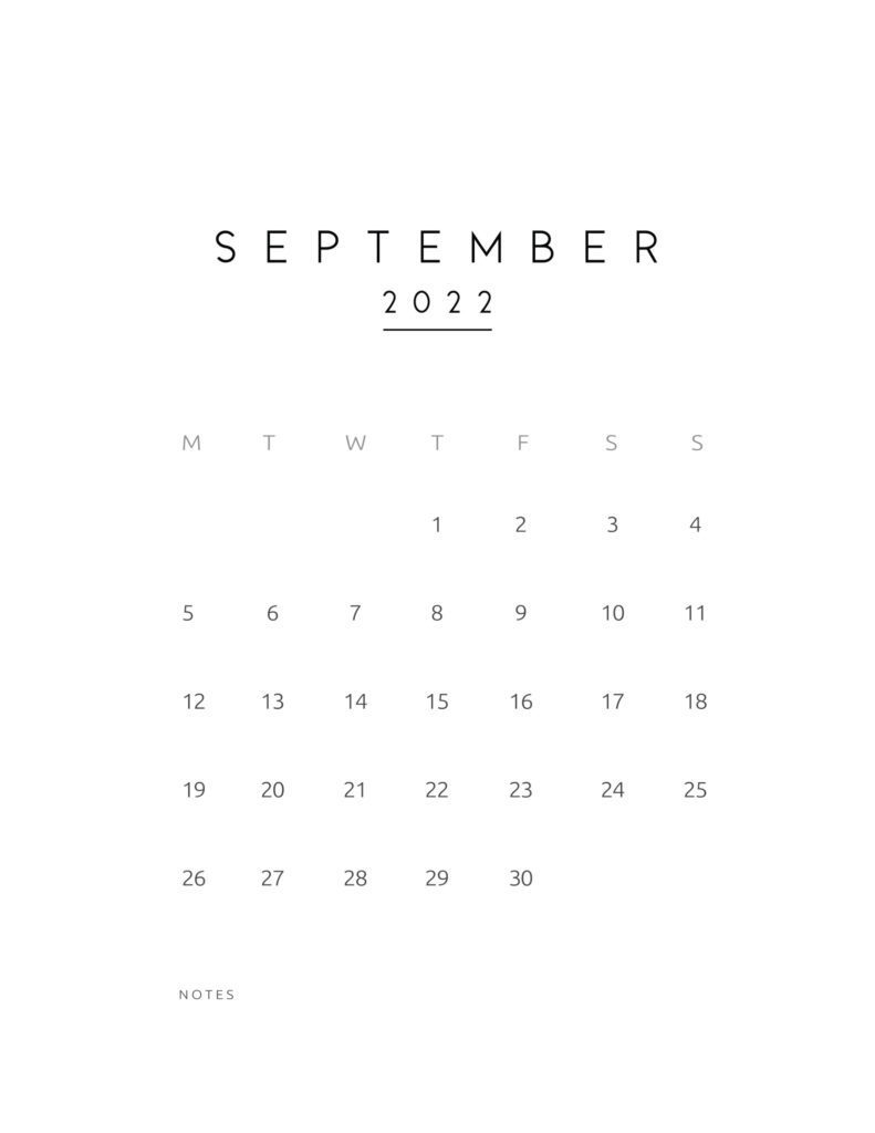 monthly calendar 2022 - september