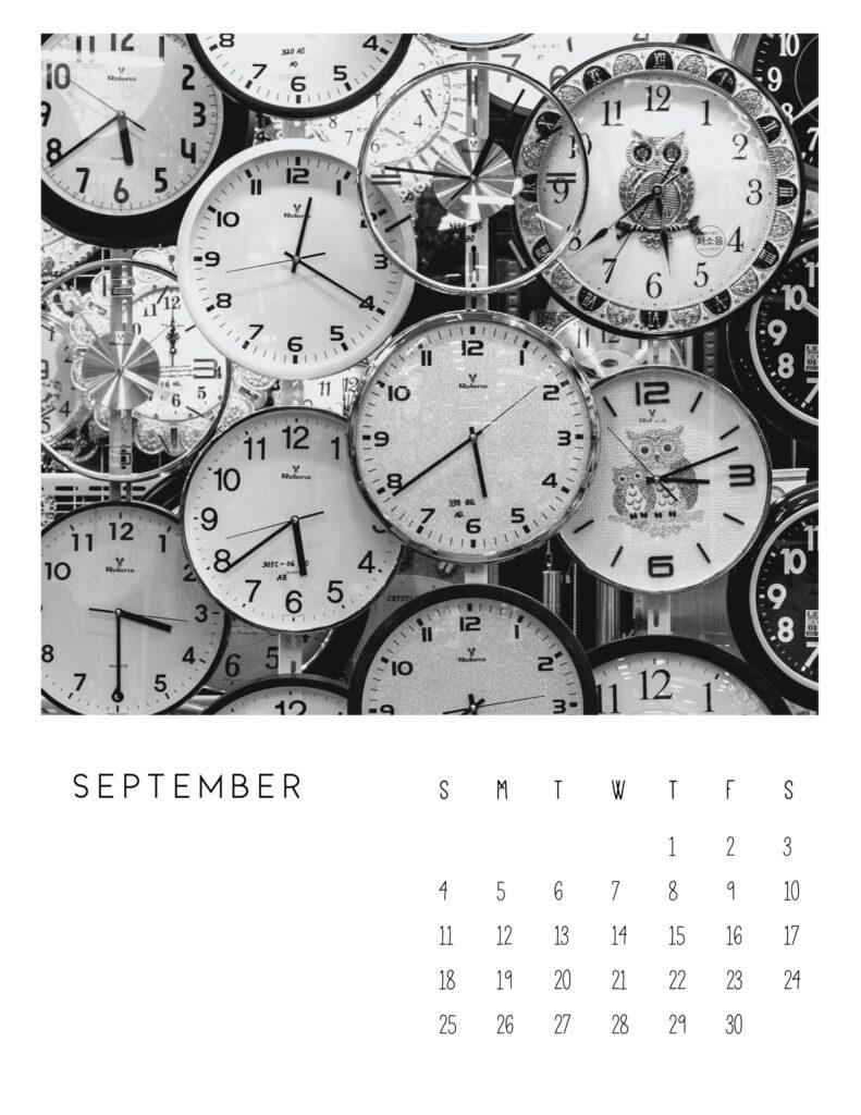 photo calendar 2022 - September