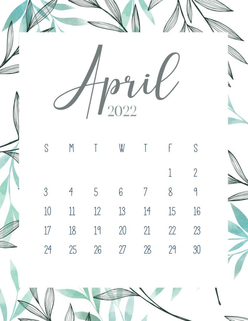 printable 2022 calendar - april
