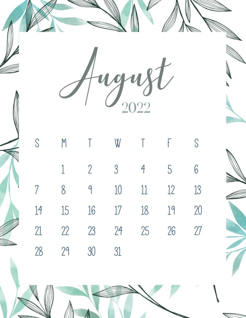 printable 2022 calendar - august