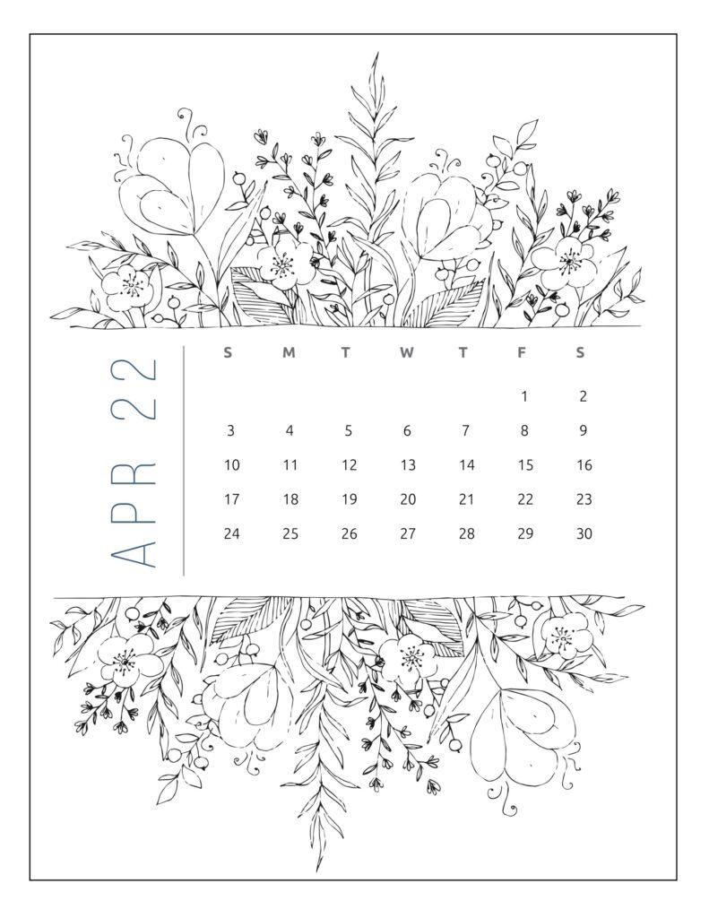 printable 2022 calendar by month - april