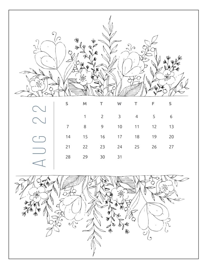 printable 2022 calendar by month - August