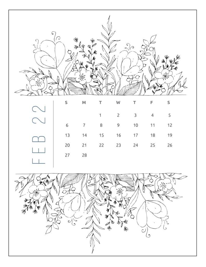 printable 2022 calendar by month - february