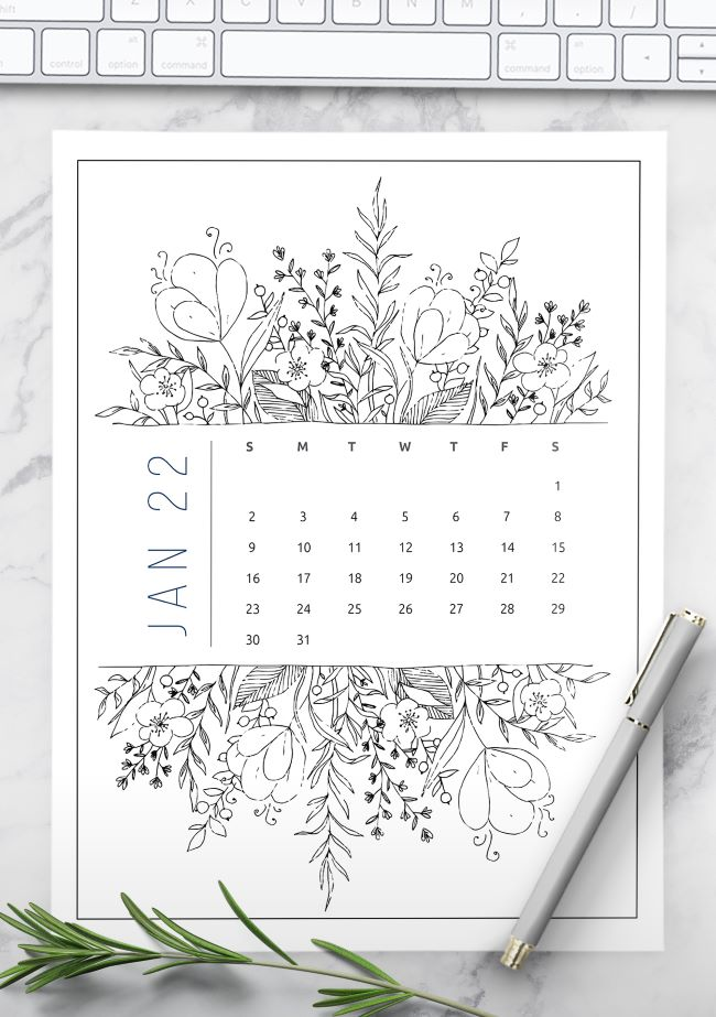 printable 2022 calendar by month illustrated