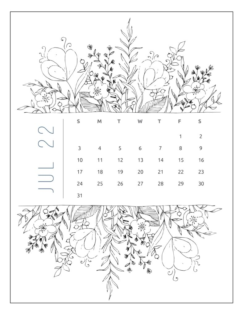 printable 2022 calendar by month - july