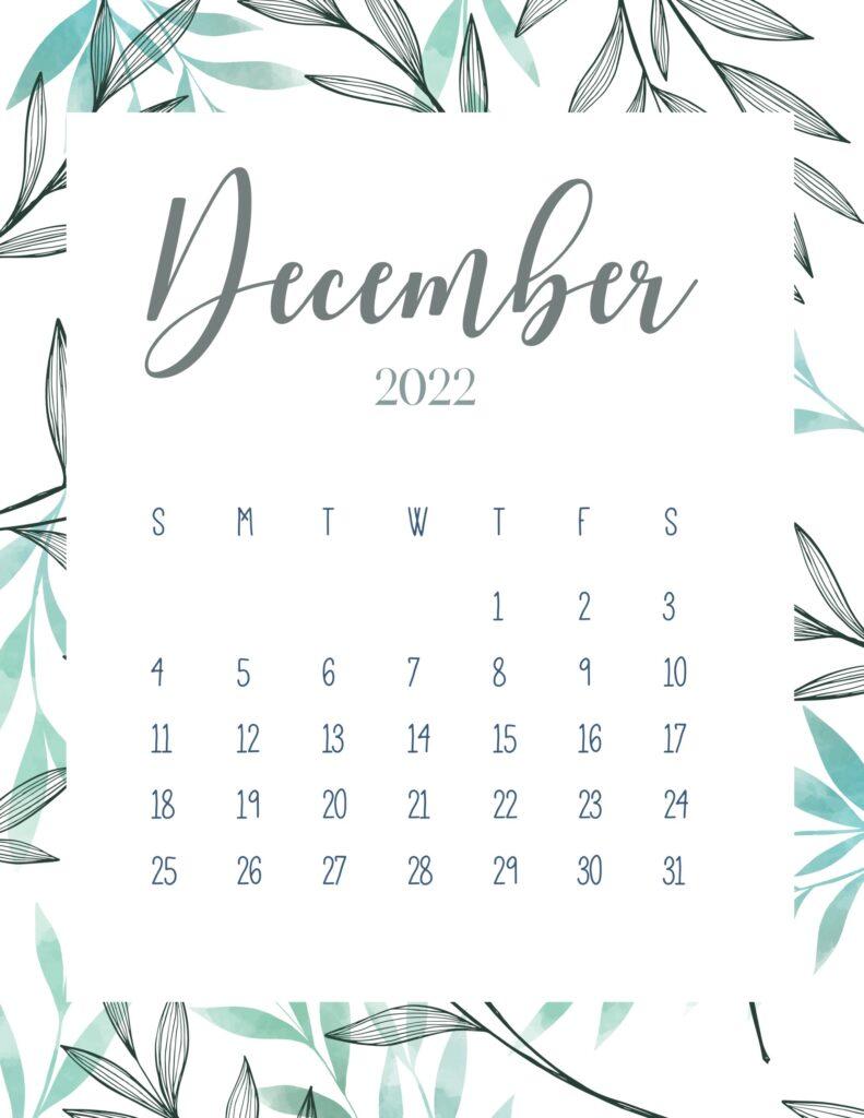 printable 2022 calendar - December