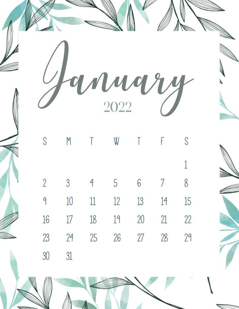 printable 2022 calendar - January