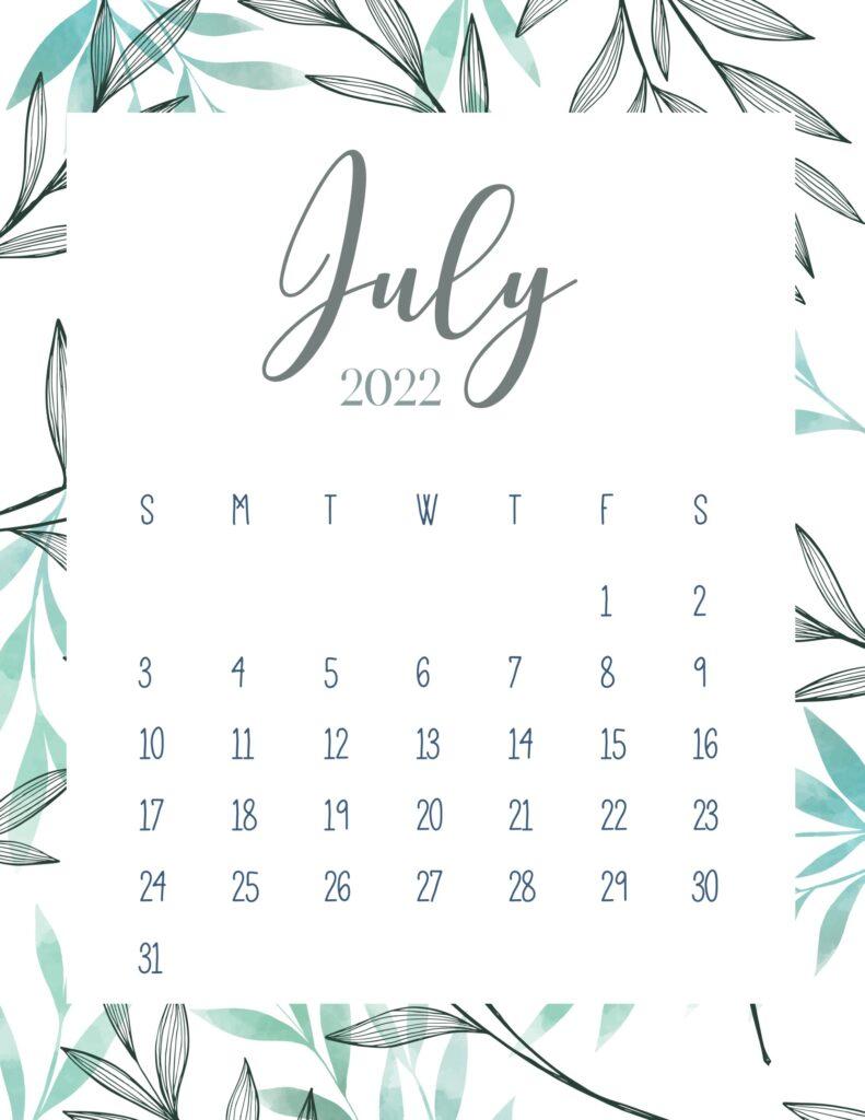printable 2022 calendar - july