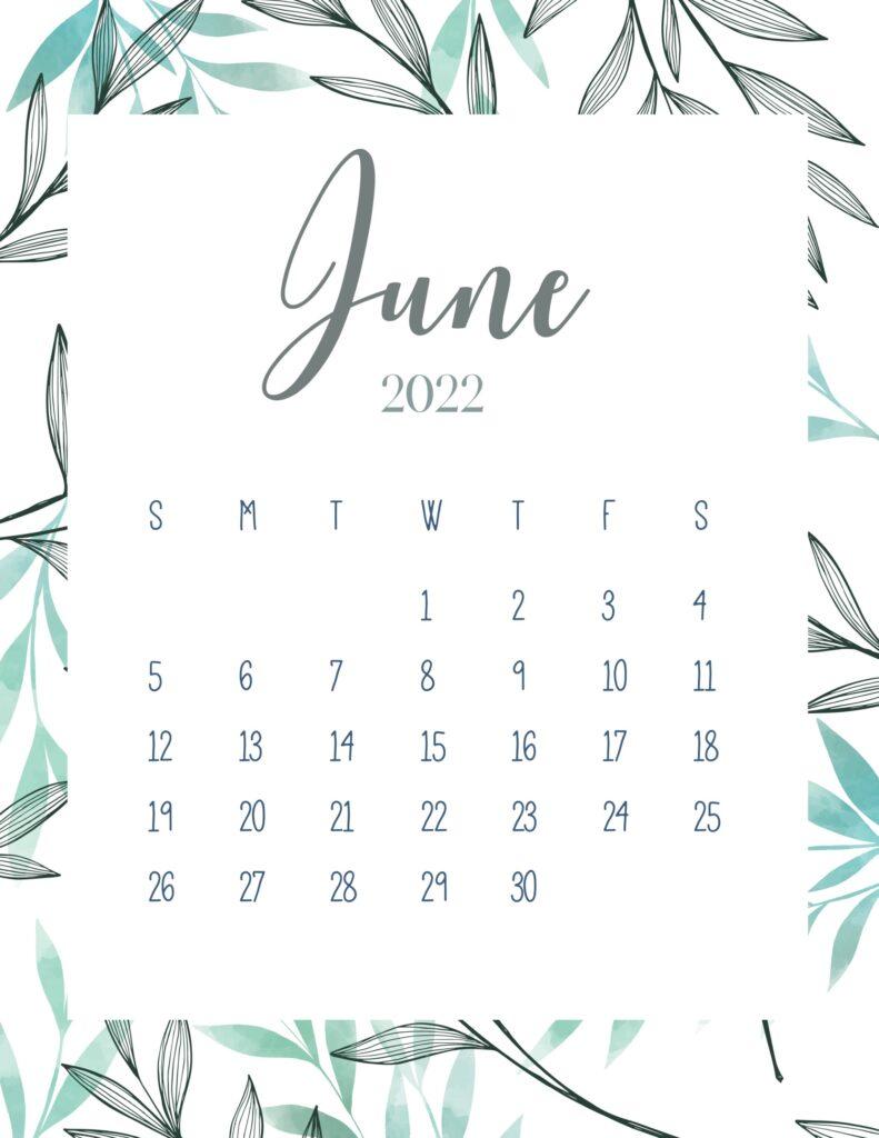 printable 2022 calendar - June