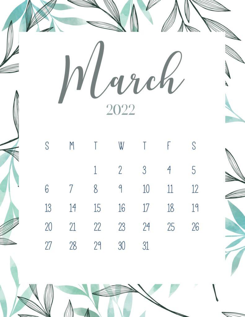printable 2022 calendar - march