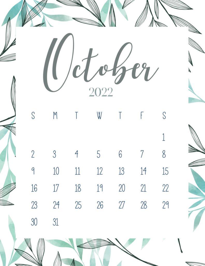 printable 2022 calendar - October