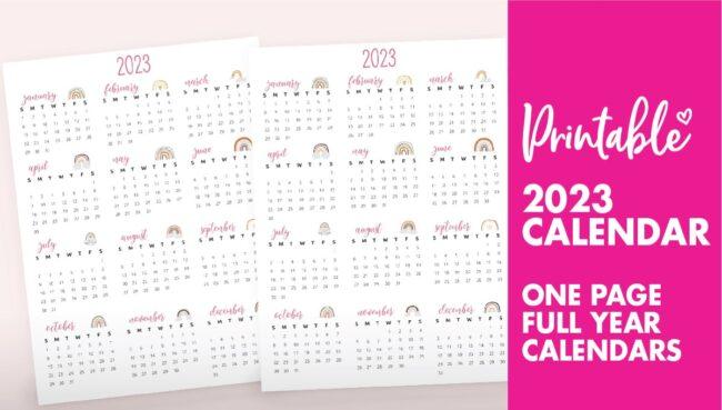 printable 2023 calendar one page - 2023 calendar