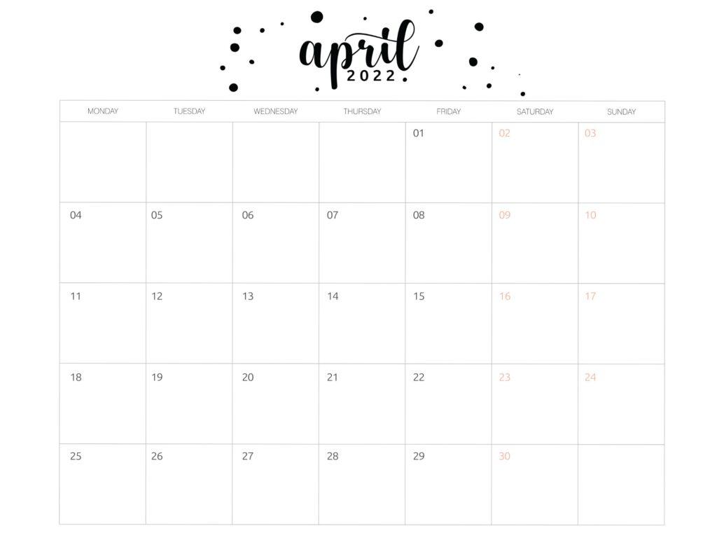 Printable April 2022 calendar template