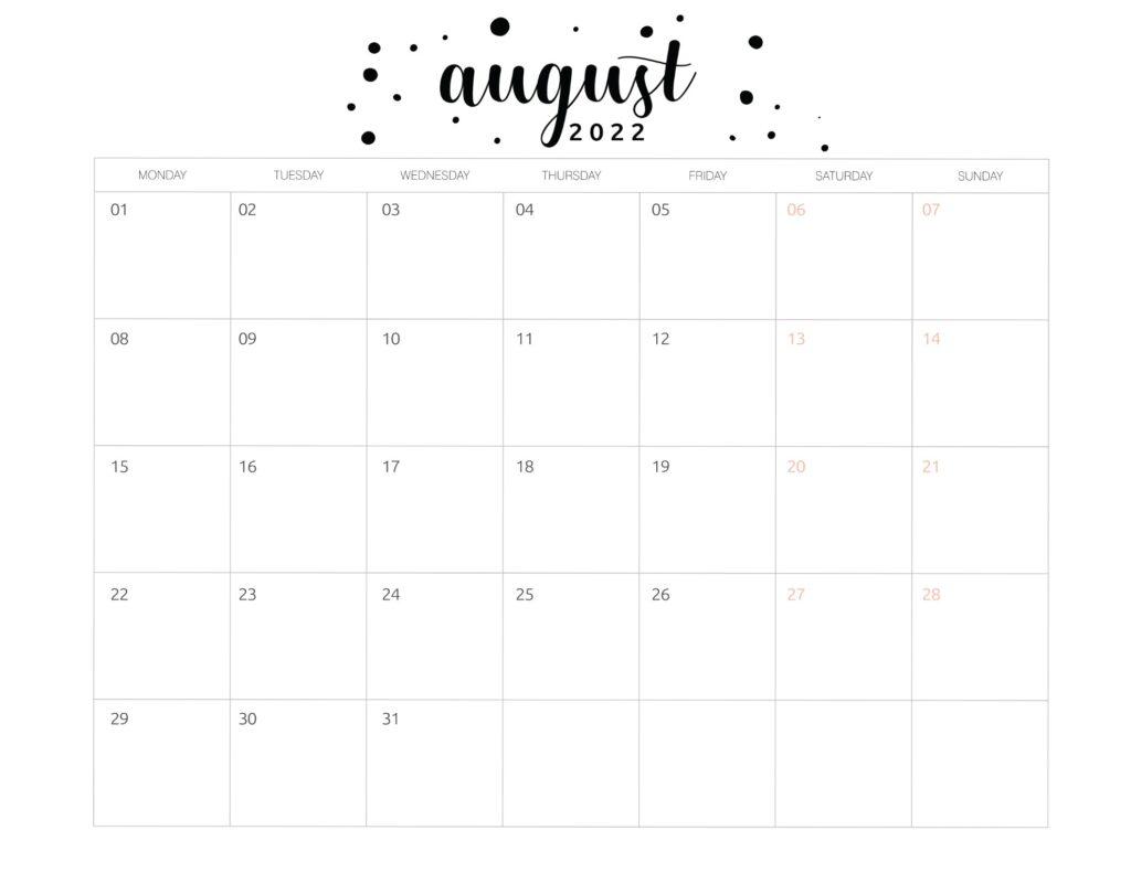 Printable August 2022 calendar template