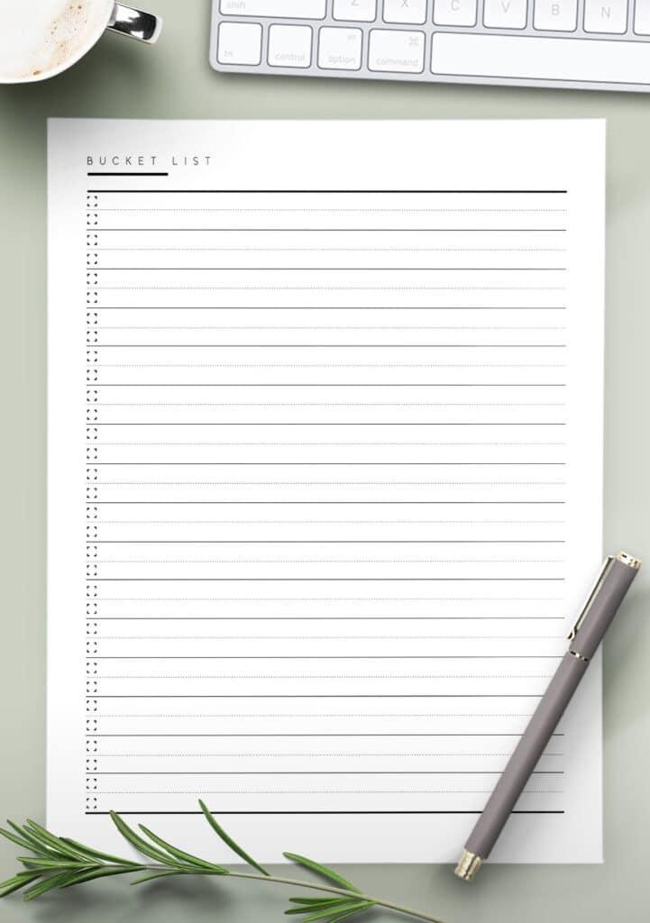 printable bucket list
