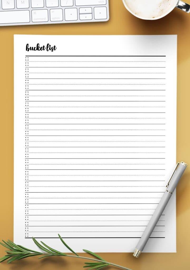 printable bucket list template
