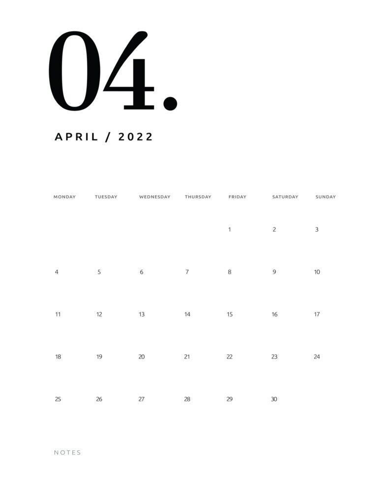 printable calendar 2022 - april