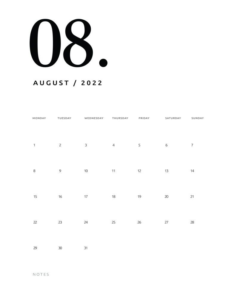 printable calendar 2022 - august