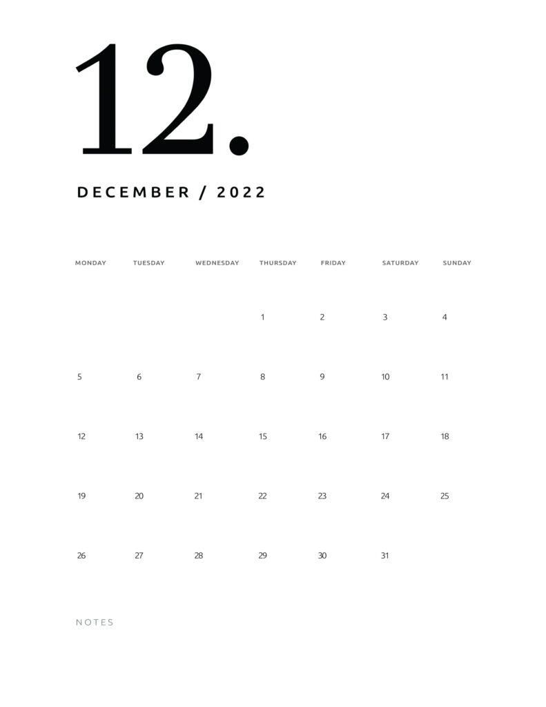 printable calendar 2022 - december