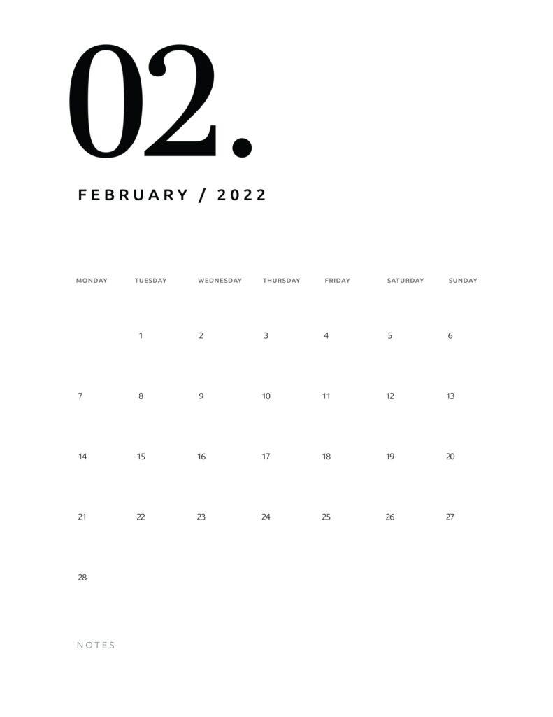 printable calendar 2022 - february