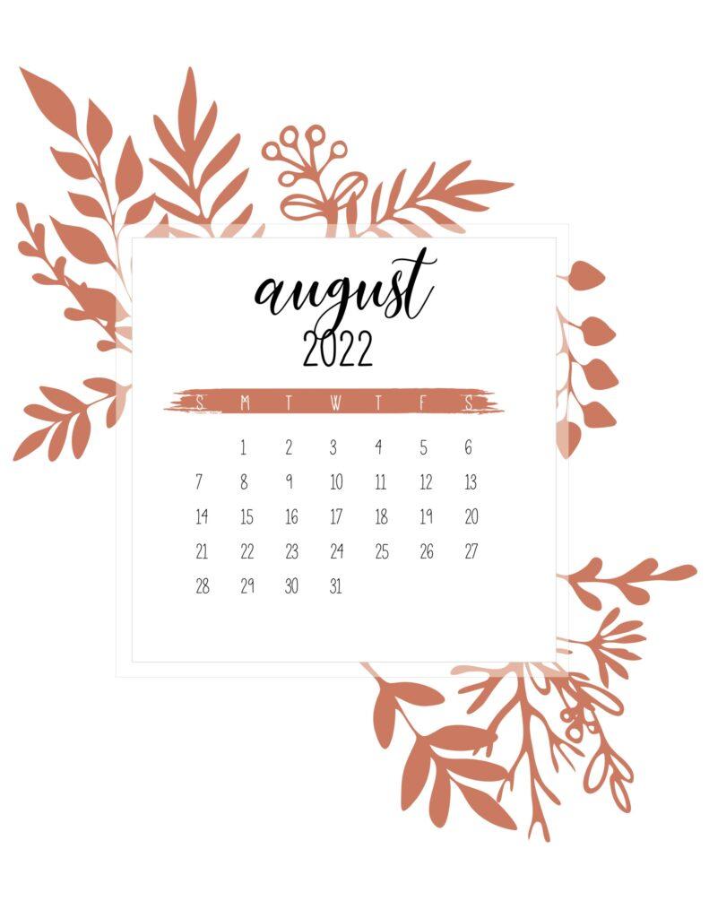 printable calendar 2022 free - august