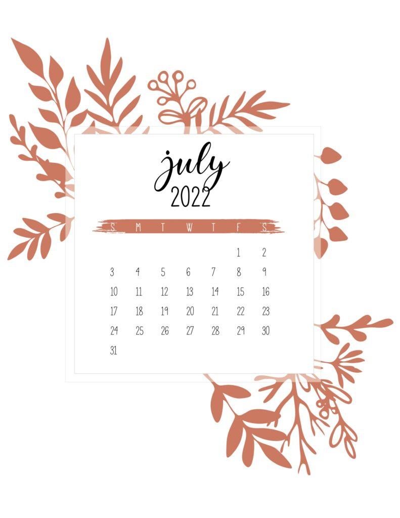 printable calendar 2022 free - july