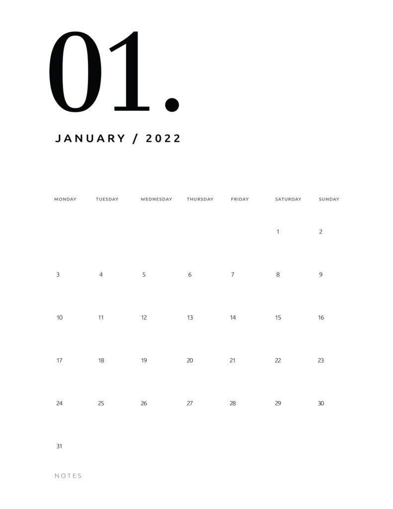 printable calendar 2022 - january