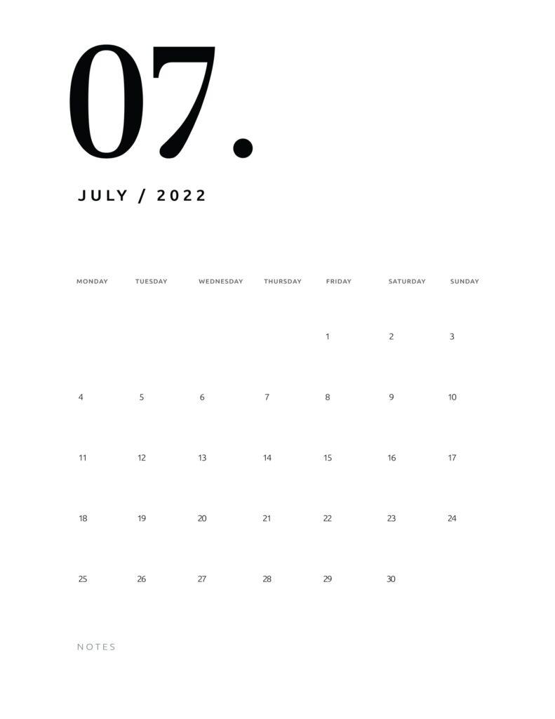 printable calendar 2022 - july