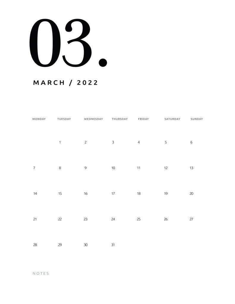 printable calendar 2022 - march