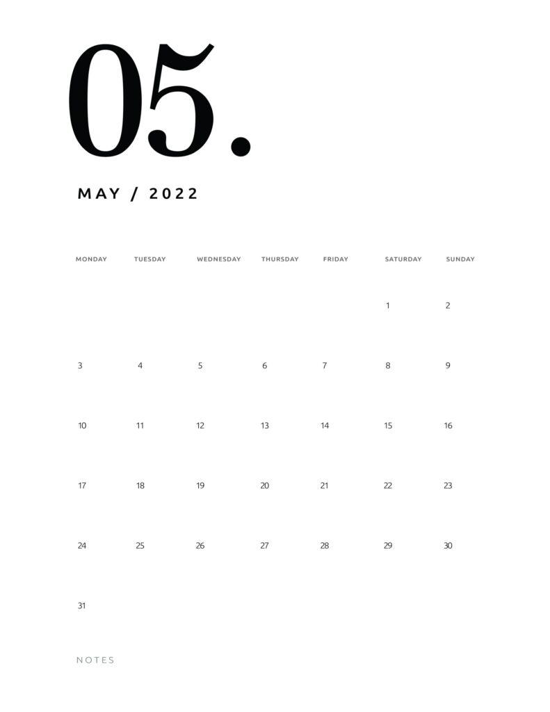 printable calendar 2022 - may