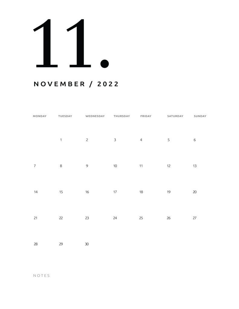 printable calendar 2022 - november