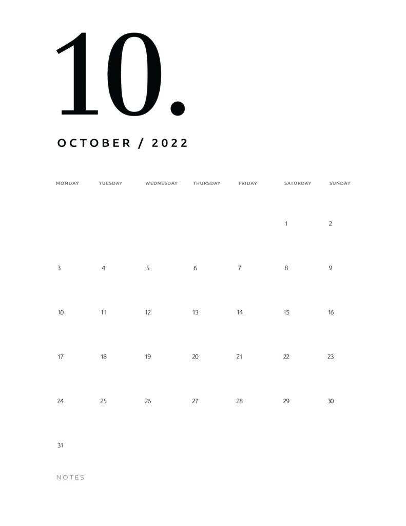 printable calendar 2022 - october