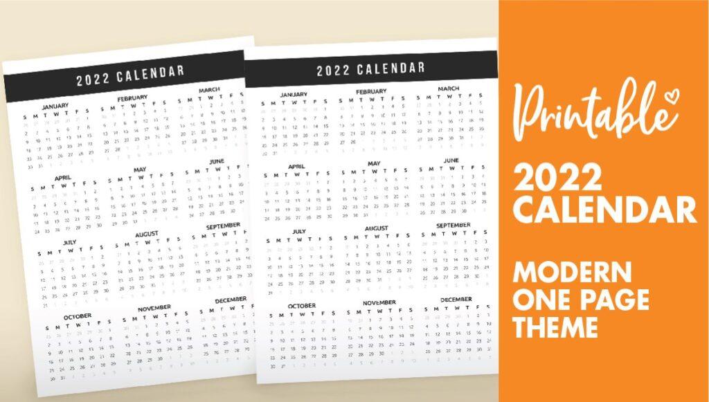 printable calendar 2022 - one page - calendar 2022
