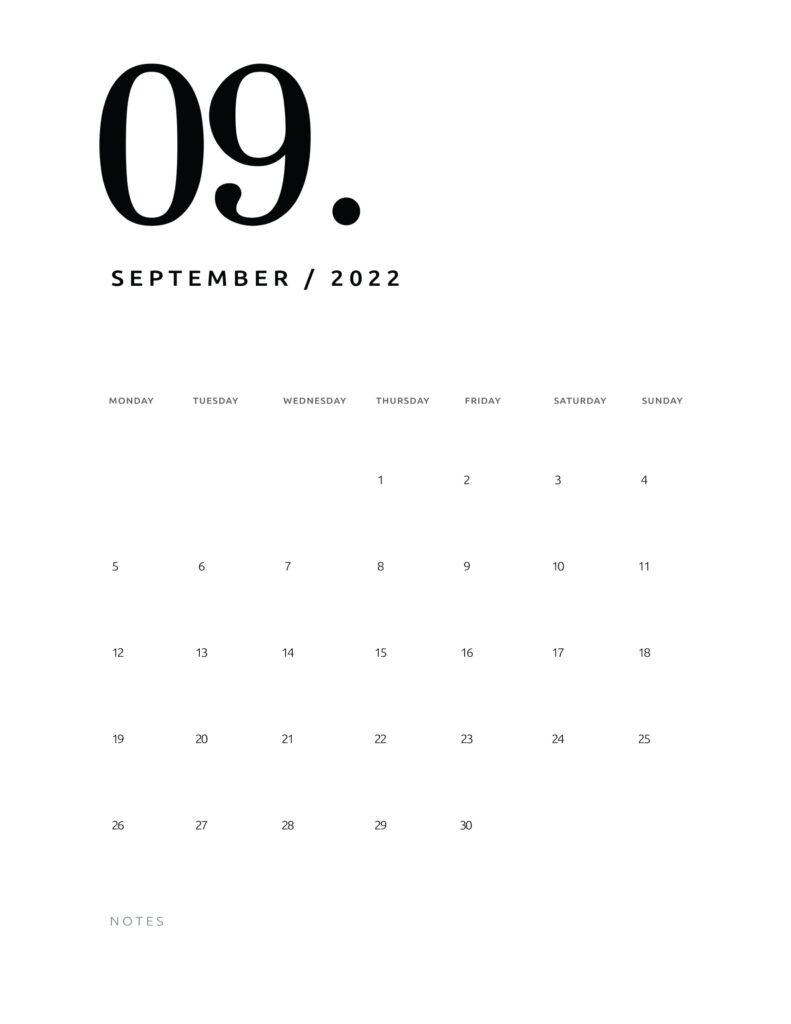 printable calendar 2022 - september