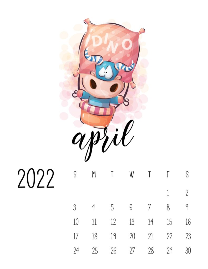 printable calendar for kids - April 2022