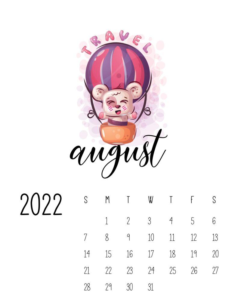 printable calendar for kids - August 2022