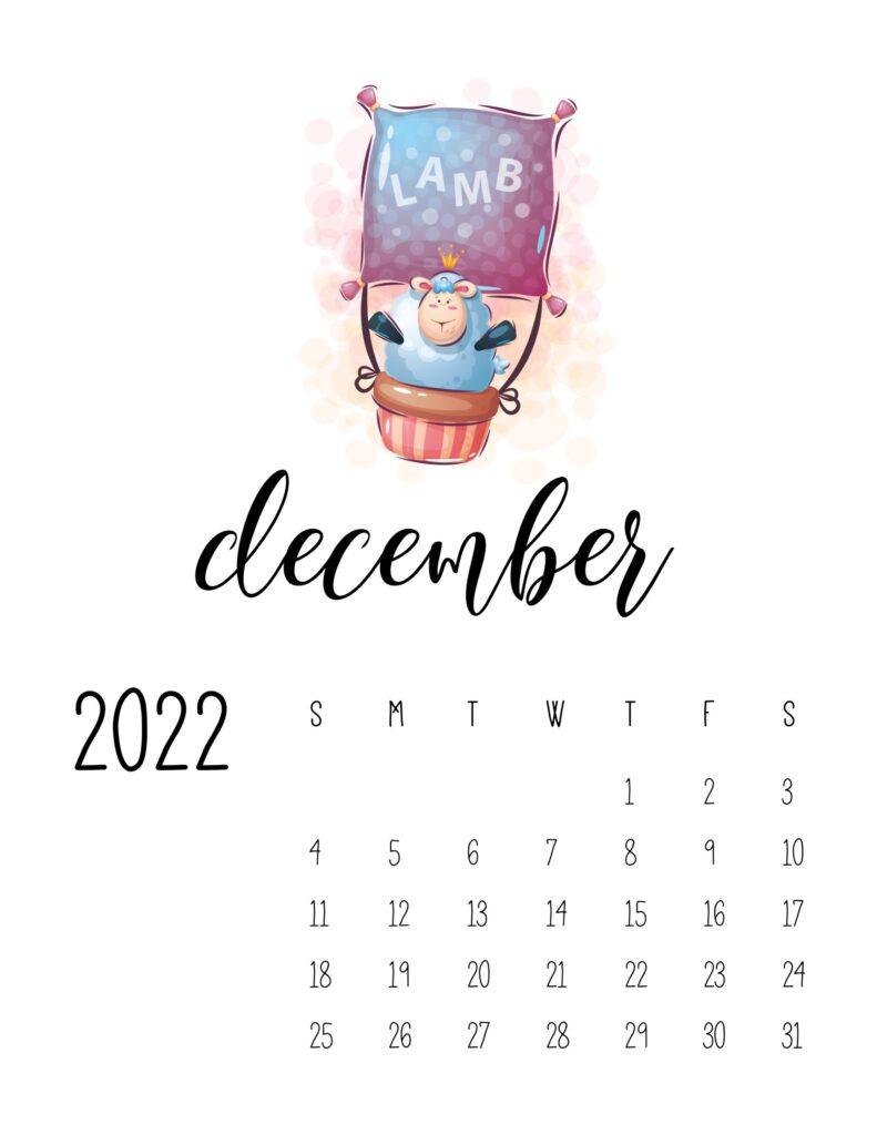 printable calendar for kids - December 2022