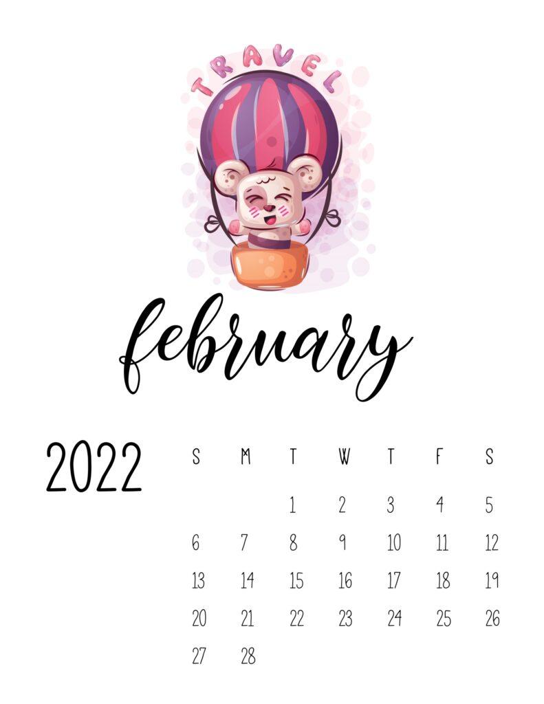 printable calendar for kids - february