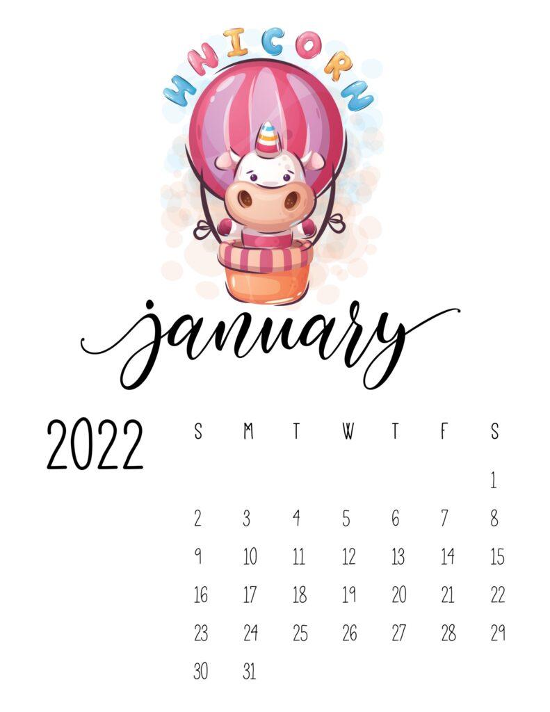 printable calendar for kids - January 2022
