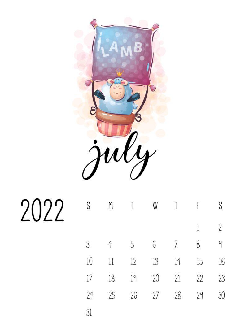 printable calendar for kids - july