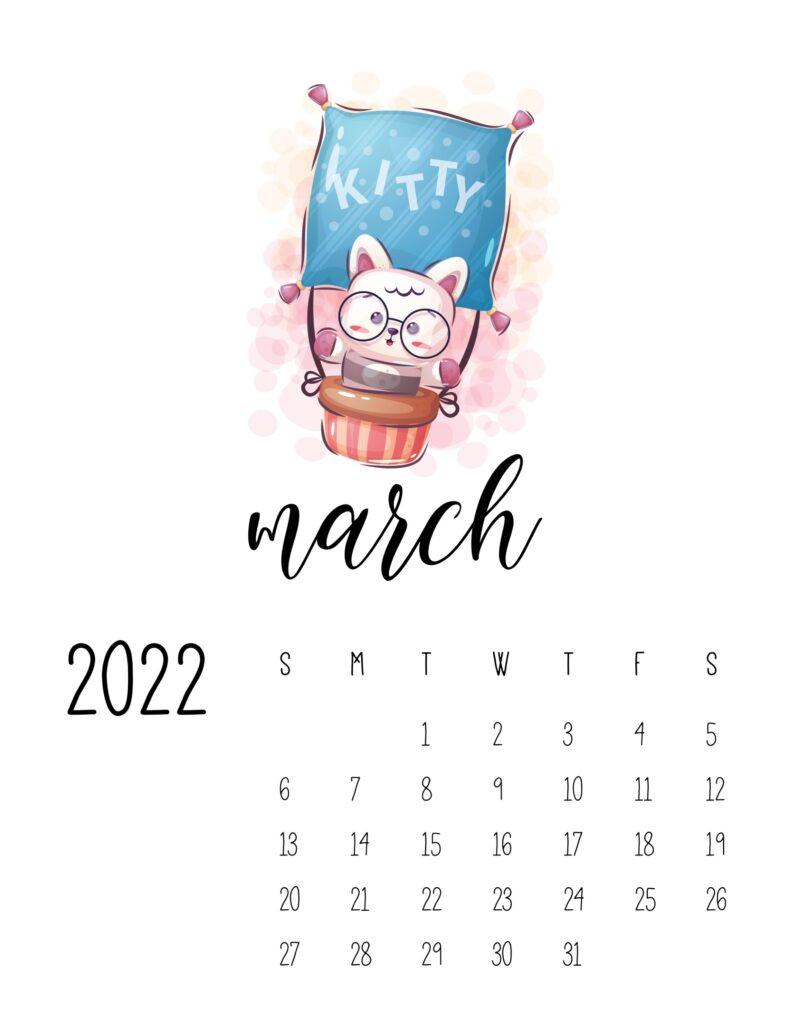 printable calendar for kids - march
