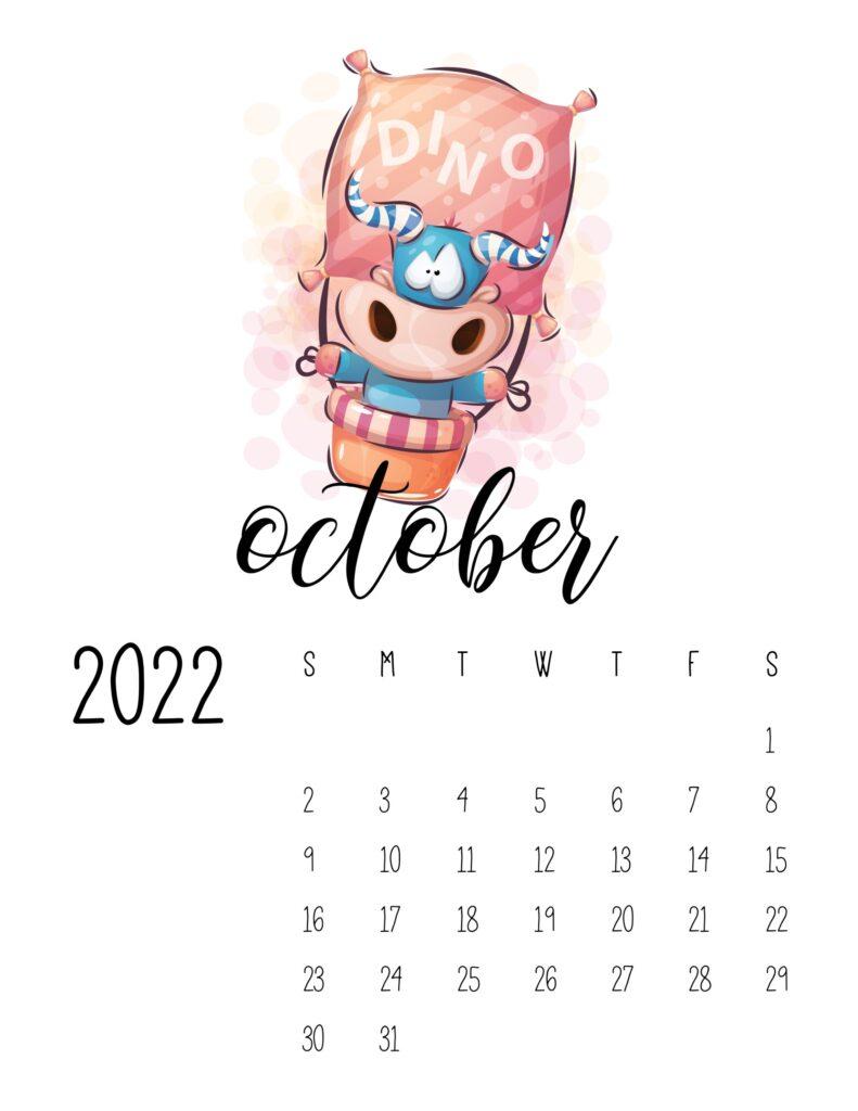 printable calendar for kids - October 2022