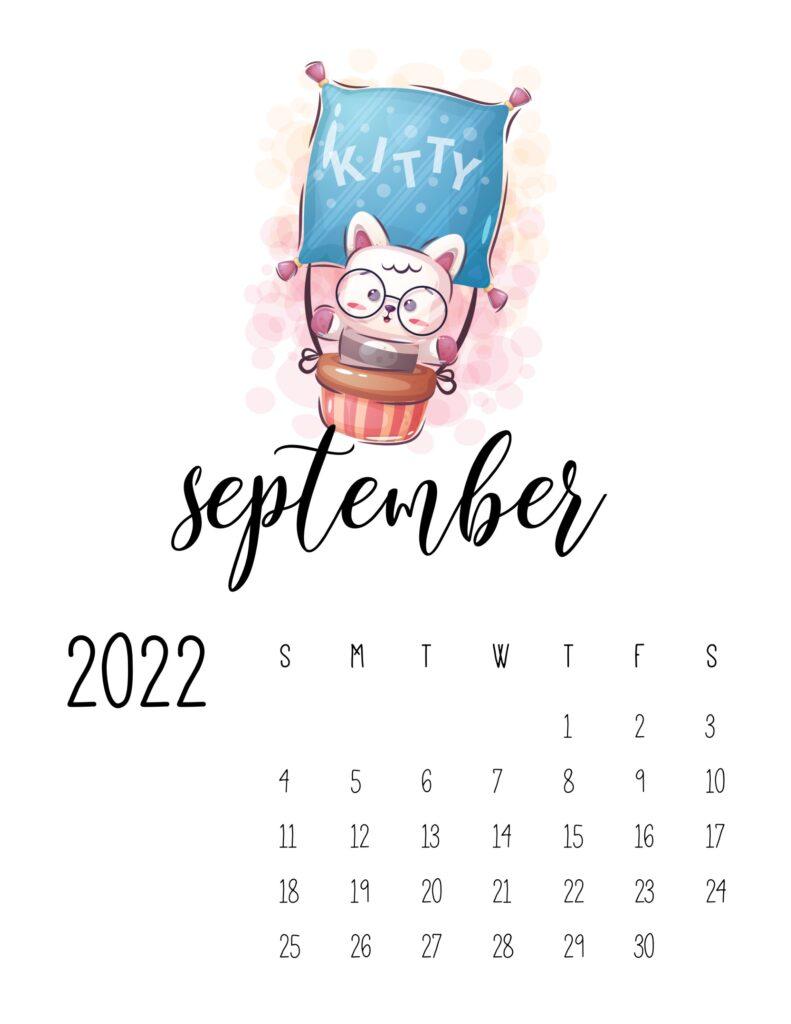 printable calendar for kids - September 2022