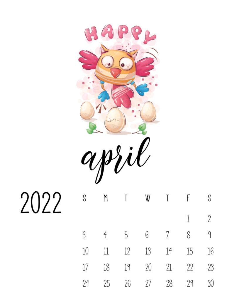 printable childrens calendar 2022 - april