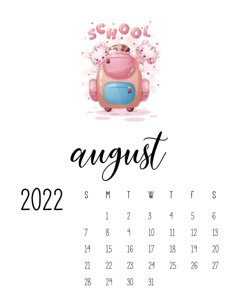 printable childrens calendar 2022 - august