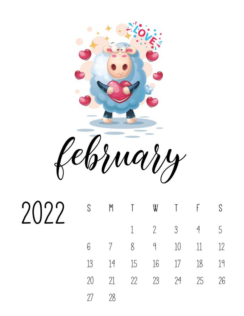 printable childrens calendar 2022 - february