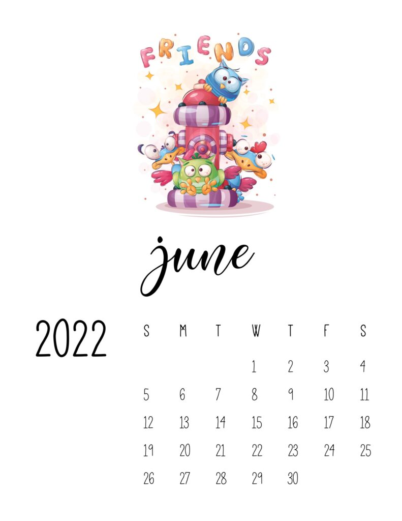 printable childrens calendar 2022 - june